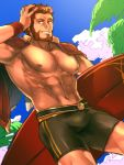 01rosso 1boy abs alternate_costume bara bare_chest beard bulge capelet chest facial_hair fate/grand_order fate/zero fate_(series) hand_on_head holding holding_surfboard iskandar_(fate) male_focus male_swimwear manly muscle red_capelet red_eyes redhead short_hair solo summer surfboard swim_trunks swimwear thighs