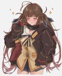1girl antenna_hair aogisa baggy_clothes blazer blue_ribbon blue_skirt blush brown_hair brown_jacket closed_eyes girls_frontline gradient_hair grey_background hair_ribbon highres jacket long_hair m14_(girls_frontline) mod3_(girls_frontline) multicolored_hair open_clothes open_jacket pleated_skirt ribbon sidelocks simple_background skirt smile solo sparkle twintails