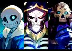 3boys ainz_ooal_gown armor blue_eyes bone cloak crossover fate/grand_order fate_(series) glowing glowing_eye glowing_eyes grin highres hood hoodie horns king_hassan_(fate/grand_order) looking_at_viewer multiple_boys open_mouth overlord_(maruyama) red_eyes ribs sakusan_yousoeki sans skeleton skull skull_mask smile spikes teeth undertale