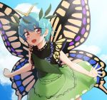 antennae aqua_hair artist_request butterfly_wings clouds cloudy_sky cowboy_shot dress eternity_larva green_dress hair_ornament highres leaf leaf_hair_ornament leaf_on_head looking_at_viewer multicolored multicolored_clothes multicolored_dress open_mouth outdoors red_eyes short_hair short_sleeves single_strap sky touhou wings yellow_wings