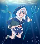 1girl artist_name bangs bubble floating gawr_gura highres holding holding_stuffed_toy hololive hololive_english hyafumi looking_at_viewer open_mouth polearm shark shark_girl sharp_teeth smile solo stuffed_toy teeth trident underwater weapon white_hair