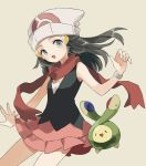 1girl beanie budew commentary dawn_(pokemon) eyelashes fingernails gen_4_pokemon grey_hair hair_ornament hairclip hand_up hat long_hair open_mouth pokemon pokemon_(creature) pokemon_(game) pokemon_dppt red_scarf scarf smile spread_fingers tongue white_headwear zges