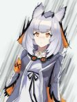 1girl arknights armband bangs coat dress eyebrows_visible_through_hair goggles goggles_around_neck grey_coat highres long_sleeves mtzgd open_clothes open_coat orange_eyes owl_ears pointy_hair ptilopsis_(arknights) rhine_lab_logo short_hair silver_hair solo surprised white_dress wide-eyed
