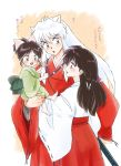 1boy 2girls absurdres animal_ears barefoot bead_necklace beads bow father_and_daughter hair_bow hair_pull han'you_no_yashahime highres higurashi_kagome inuyasha inuyasha_(character) japanese_clothes jewelry kimono long_hair mocamilkmoca moroha mother_and_daughter multiple_girls necklace signature translation_request white_hair wolf_ears younger