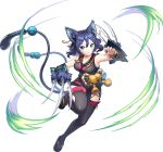 1girl animal_ears aqua_eyes artist_request ayakashi_rumble! bell blue_hair breasts cat_ears cat_girl cat_tail claw_(weapon) earrings japanese_clothes jewelry large_breasts looking_at_viewer mole mole_under_eye multiple_tails nekomata official_art rin_(ayakashi_rumble!) sandals short_hair slit_pupils solo tail thigh-highs transparent_background weapon