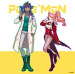 1boy 1girl aqua_eyes blush boots commentary cosplay costume_switch cravat dark_skin dark_skinned_male eyewear_on_head facial_hair hair_ornament heart heart_hair_ornament highres labcoat leon_(pokemon) leon_(pokemon)_(cosplay) long_hair mmssnn96 orange_hair pokemon pokemon_(game) pokemon_swsh purple_hair side_ponytail sonia_(pokemon) sonia_(pokemon)_(cosplay) sunglasses tailcoat yellow_eyes