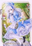 1girl alice_in_wonderland apron blue_dress blue_eyes blush bow colored_pencil_(medium) darkkanan dress forest frilled_dress frilled_skirt frills graphite_(medium) hair_bow hairband highres long_hair looking_at_viewer nature original outdoors pantyhose pinafore_dress scenery shoes sidelocks skirt solo standing standing_on_one_leg traditional_media watercolor_(medium) white_hair white_legwear