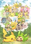 :d ampharos audino beheeyem brown_eyes buizel bunnelby carracosta chespin commentary_request dedenne deerling espurr eye_contact farfetch'd fur gen_1_pokemon gen_2_pokemon gen_3_pokemon gen_4_pokemon gen_5_pokemon gen_6_pokemon goomy grass jirachi konanbo looking_at_another lying mawile mew mythical_pokemon no_humans nuzleaf on_stomach open_mouth pancham panpour pikachu pokemon shared_thought_bubble shelmet smile swirlix tail teeth thought_bubble tongue watchog