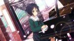 22/7 black_hair blush brown_eyes school_uniform short_hair takigawa_miu