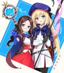 2girls artoria_pendragon_(all) artoria_pendragon_(caster) bangs belt beret black_bow black_gloves black_legwear blue_belt blue_cape blue_eyes blue_gloves blue_headwear blush bow breasts brown_dress brown_hair cape double-breasted dress elbow_gloves fate/grand_order fate_(series) forehead gauntlets gloves green_eyes grin hair_bow hat highres holding holding_staff kodamari leonardo_da_vinci_(fate/grand_order) leonardo_da_vinci_(rider)_(fate) long_hair looking_at_viewer multicolored multicolored_cape multicolored_clothes multiple_girls o-ring_belt open_mouth pantyhose parted_bangs ponytail puff_and_slash_sleeves puffy_short_sleeves puffy_sleeves red_skirt short_sleeves single_gauntlet skirt small_breasts smile staff striped_belt thighs twintails white_dress