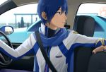 1boy blue_eyes blue_hair blue_nails blue_scarf car coat commentary driving ground_vehicle headset kaito looking_back male_focus mirror motor_vehicle nokuhashi scarf seat seatbelt silhouette steering_wheel upper_body vocaloid white_coat