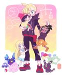 2boys 2girls anzu_(01010611) blonde_hair blush brother_and_sister building_block carrying clefairy closed_eyes closed_mouth cosmog dress ear_piercing gen_1_pokemon gen_2_pokemon gen_7_pokemon gladion_(pokemon) green_eyes grey_eyes hair_ornament hair_over_one_eye hanging hau_(pokemon) highres leg_hug legendary_pokemon lillie_(pokemon) long_hair looking_down multiple_boys multiple_girls open_mouth orange_footwear orange_shorts pants piercing poke_ball poke_ball_(basic) pokemon pokemon_(game) pokemon_sm selene_(pokemon) shoes short_sleeves shorts siblings socks standing substitute_(pokemon) sweatdrop symbol_commentary tongue torn_clothes torn_pants toy_car umbreon white_dress white_legwear younger