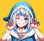 1girl bangs blue_hair blue_nails blunt_bangs claw_pose collarbone fish_skeleton gawr_gura grin highres hololive hololive_english multicolored multicolored_eyes multicolored_hair one_eye_closed shark_hood sharp_teeth simple_background smile solo teeth two-tone_hair tyureu white_hair yellow_background