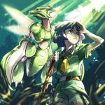 1boy akihorisu arm_up bangs belt bugsy_(pokemon) closed_mouth collared_shirt commentary_request day foliage gen_1_pokemon green_shirt green_shorts grey_eyes highres holding_butterfly_net looking_to_the_side outdoors pokemon pokemon_(creature) pokemon_(game) pokemon_hgss purple_hair scyther shirt short_sleeves shorts yellow_neckwear