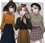 3girls ahoge akigumo_(kantai_collection) akishimo_(kantai_collection) akizuki_(kantai_collection) alternate_costume asymmetrical_bangs asymmetrical_hair bangs black_hair black_headwear blush brown_hair gradient_hair grey_hair hair_ribbon hand_on_another's_shoulder hat highres jewelry kantai_collection long_hair long_sleeves mole mole_under_eye multicolored_hair multiple_girls nail_polish namesake open_mouth plaid plaid_skirt ponytail ribbon ring simple_background skirt sweat sweater turtleneck turtleneck_sweater two-tone_background zippo_teifujou
