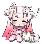 1girl =_= animal_ear_fluff animal_ears blush cat cat_ears chibi commentary_request double_bun gradient_hair hololive hood hood_down hoodie horns long_hair multicolored_hair nakiri_ayame namaonpa parted_lips redhead simple_background sitting sleeping slippers virtual_youtuber white_background white_hair zzz