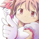 1girl blurry blush bow_(weapon) commentary_request depth_of_field eyebrows_visible_through_hair foreshortening gloves holding holding_bow_(weapon) holding_weapon kaname_madoka magical_girl mahou_shoujo_madoka_magica official_style pink_eyes pink_hair pointing puffy_sleeves serious short_sleeves simple_background solo soul_gem takahan upper_body weapon white_background white_gloves