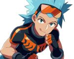 1boy :q black-framed_eyewear black_gloves black_shirt blue_eyes blue_hair brawly_(pokemon) commentary dark_skin dark_skinned_male dated_commentary eyewear_on_head fingerless_gloves gloves goggles gym_leader looking_at_viewer male_focus medium_hair orange-tinted_eyewear pokemon pokemon_(game) pokemon_oras sayshownen shirt simple_background skin_tight solo sunglasses tongue tongue_out upper_body white_background