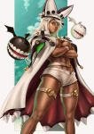 artist_name beige_shorts black_headwear blonde_hair breasts brown_eyes cape crossed_arms dandon_fuga dark_skin guilty_gear guilty_gear_xrd hat highres legband looking_at_viewer micro_shorts navel ramlethal_valentine shorts standing waistband white_cape white_headwear wristband