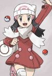 1girl arm_up bag beanie black_hair boots buttons coat commentary_request dawn_(pokemon) duffel_bag eyelashes grey_eyes hair_ornament hairclip hat highres long_hair long_sleeves looking_at_viewer official_style open_mouth over-kneehighs pink_footwear poke_ball poke_ball_(basic) pokemon pokemon_(game) pokemon_dppt pokemon_platinum red_coat sawa_(soranosawa) scarf sidelocks smile solo teeth thigh-highs tongue white_headwear white_legwear white_scarf winter_clothes