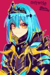 1other androgynous armor blue_hair closed_mouth crown dated hair_between_eyes long_hair looking_at_viewer metal red_background rimuru_tempest sakusan_yousoeki simple_background smile solo tensei_shitara_slime_datta_ken tiara yellow_eyes
