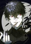 1boy black_hair face fingernails hair_between_eyes holding holding_pipe honey_dogs male_focus original parted_lips pipe red_eyes smile smoke smoking solo upper_body