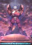 absurdres crossed_arms densetsu_kyojin_ideon epic glowing gunbuster_pose highres ideon looking_at_viewer mecha no_humans science_fiction solo standing vigwer visor