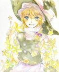 blue_eyes braid hair_ribbon hat kirisame_marisa ribbon sketch sugi touhou traditional_media watercolor_(medium) witch_hat