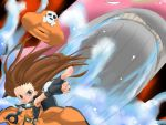 brown_hair gloves guilty_gear hat may may_(guilty_gear) pointing water whale