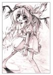 barefoot blush fang fire flandre_scarlet graphite_(medium) hat monochrome open_mouth side_ponytail smile solo sugai tiptoes touhou traditional_media wings