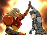 beard blonde_hair blue_eyes captainosaka cigarette explosion facial_hair grin high_five highfive long_hair metal_gear metal_gear_solid metroid mustache nintendo samus_aran smile smoking solid_snake super_smash_bros. varia_suit