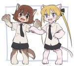 2girls animal_ears blonde_hair blue_eyes blush brown_eyes brown_hair cat_ears cat_girl cat_tail claws dog_ears dog_girl dog_tail furrification furry hair_ribbon kill_me_baby long_hair meis_(terameisu) multiple_girls necktie open_mouth oribe_yasuna ribbon school_uniform short_hair skirt sonya_(kill_me_baby) sparkle tail twintails violet_eyes