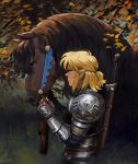 1boy absurdres armor bangs blonde_hair earrings fingerless_gloves gloves hair_pulled_back highres jewelry leaf link malin_falch medium_hair outdoors pointy_ears profile solo sword the_legend_of_zelda the_legend_of_zelda:_breath_of_the_wild tree weapon