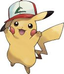 :3 arms_up artist_request baseball_cap black_eyes blush_stickers clothed_pokemon full_body gen_1_pokemon happy hat highres looking_up no_humans official_art open_mouth pikachu pokemon pokemon_(anime) pokemon_(classic_anime) pokemon_(creature) pokemon_(game) pokemon_swsh red_headwear smile solo standing transparent_background