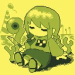 1girl abstract_background balloon bangs braid checkered chibi closed_eyes commentary_request dithering hair_tie holding holding_knife kneehighs knife lowres madotsuki monochrome pixel_art print_sweater regurusu_(nagarevosi) sitting skirt solo sweater twin_braids twintails yellow_background yellow_theme yume_nikki