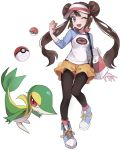 1girl black_legwear blue_eyes blush bow breasts brown_hair commentary double_bun eyelashes gen_5_pokemon legwear_under_shorts long_hair looking_at_viewer one_eye_closed open_mouth pantyhose pink_bow poke_ball poke_ball_(basic) pokemon pokemon_(creature) pokemon_(game) pokemon_bw2 raglan_sleeves rosa_(pokemon) shirt shoes short_shorts shorts smile sneakers snivy tongue twintails very_long_hair visor_cap wadasada white_background yellow_shorts