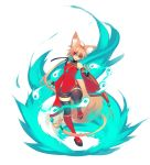 1girl absurdres animal_ears bare_shoulders bell bike_shorts blonde_hair breasts detached_sleeves eyebrows_visible_through_hair fox_ears fox_girl fox_tail full_body hair_between_eyes highres jewelry long_hair necklace open_mouth original red_eyes simple_background small_breasts solo sub-res suzu_(sub-res) tail teeth thigh-highs tongue very_long_hair white_background