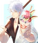 1boy absurdres blueberry cherry desert food fruit gintama highres holding holding_food kurokiseow looking_at_viewer mouth_hold parfait parted_lips red_eyes sakata_gintoki short_hair solo sparkle strawberry sword upper_body weapon white_hair wooden_sword