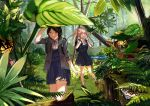 2girls absurdres backpack bag black_hair dress forest grey_eyes highres jacket legs long_hair multiple_girls nature orange_eyes orange_hair original outdoors pinafore_dress plant rad_hamamatsu randoseru ruins scenery school_uniform shoes short_hair socks standing standing_on_one_leg thighs twintails walking