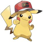 :3 arm_up artist_request baseball_cap black_eyes blush_stickers clenched_hands closed_mouth clothed_pokemon copyright_request full_body gen_1_pokemon hand_up happy hat highres no_humans official_art outline outstretched_arm pikachu pokemon pokemon_(creature) pokemon_(game) pokemon_swsh red_headwear smile solo standing transparent_background white_outline