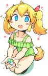 1girl :o bachera bangs bare_shoulders blonde_hair blue_eyes blush_stickers casual_one-piece_swimsuit collarbone colored_shadow copyright_request dog_tail eyebrows_visible_through_hair frilled_swimsuit frills full_body green_swimsuit hair_between_eyes hair_ribbon highres holding looking_at_viewer off-shoulder_swimsuit one-piece_swimsuit open_mouth red_ribbon ribbon shadow solo sparkle squatting swimsuit tail twintails upper_teeth white_background