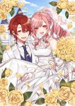 1boy 1girl :d blush breasts brooch carrying dress flower formal hanagata hetero jewelry medium_breasts necktie open_mouth original outdoors pink_hair princess_carry red_eyes redhead smile suit wedding_dress white_dress white_suit yellow_flower