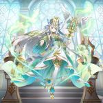 1girl braid elf green_eyes hat high_heels holding long_hair looking_at_viewer noa_(valkyrie_connect) official_art pointy_ears staff stained_glass thigh-highs valkyrie_connect white_hair white_legwear window winged_staff