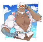 1boy absurdres aegir_(tokyo_houkago_summoners) bara bare_chest beard blue_eyes chest clouds cloudy_sky cropped_legs dark_skin dark_skinned_male eyewear_on_head facial_hair fingernails fins highres jewelry male_focus manami_(fearfac666) manly muscle navel nipples open_clothes open_shirt sharp_fingernails shirt short_hair single_earring sky smirk solo tokyo_houkago_summoners water white_hair white_shirt