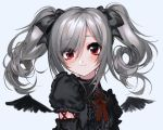 1girl bad_source black_bow black_shirt bow choker detached_wings eyebrows_visible_through_hair feathered_wings frills grey_hair hair_bow highres idolmaster idolmaster_cinderella_girls kanzaki_ranko lace lace-trimmed_bow lace_choker lace_trim mini_wings puffy_short_sleeves puffy_sleeves red_bow red_eyes red_neckwear shirt short_sleeves simple_background smile twintails unxi wings