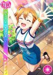 blush character_name closed_eyes dress kousaka_honoka love_live!_school_idol_festival love_live!_school_idol_project orange_hair short_hair smile