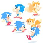 blue_hedgehog fox gigi_d.g. multiple_tails red_footwear running sonic sonic_the_hedgehog source_request tail tails_(sonic) two_tails