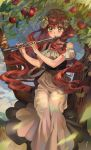 1girl absurdres apple brown_hair dress flute food fruit green_eyes highres in_tree instrument korean_commentary looking_at_viewer music original playing_instrument seveneightdu sitting sitting_in_tree solo tree white_dress