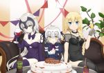 3girls absurdres ahoge anniversary bare_shoulders black_dress black_gloves black_legwear blonde_hair blue_eyes blush bottle bow braid breasts cake champagne_flute collarbone commentary_request couch cup dress drinking_glass elbow_gloves fate/grand_order fate_(series) food gloves headpiece highres jeanne_d'arc_(alter)_(fate) jeanne_d'arc_(fate) jeanne_d'arc_(fate)_(all) jeanne_d'arc_alter_santa_lily long_hair looking_at_viewer medium_breasts multiple_girls pale_skin purple_bow purple_dress purple_gloves purple_legwear purple_ribbon ribbon silver_hair single_braid sitting smile sparkling_eyes table thigh-highs very_long_hair wine_bottle wine_glass yellow_eyes yukipoyogorira
