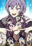1boy 1girl bernadetta_von_varley caspar_von_bergliez death_knight_(fire_emblem) felix_hugo_fraldarius fire_emblem fire_emblem:_three_houses garreg_mach_monastery_uniform grey_eyes highres hubert_von_vestra kusodekablack linhardt_von_hevring open_mouth purple_hair short_hair tearing_up uniform violet_eyes yuri_(fire_emblem)
